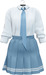 NYU - Tie Shirt w/ Pleated Skirt, BabyBlue