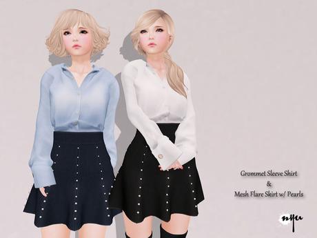 NYU - Mesh Flare Skirt w/ Pearls, Fatpack