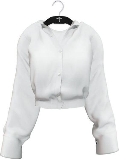 NYU - Grommet Sleeve Shirt, White