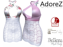 AdoreZ - Laura Dress White/Flower _White/ Pink
