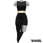 TETRA - Asymmetric Drape Dress (Black)