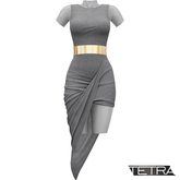 TETRA - Asymmetric Drape Dress (Gray)
