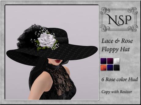 NSP Lace Rose Floppy Hat - V9