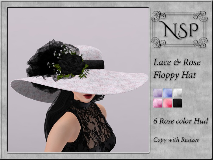 NSP Lace Rose Floppy Hat - V10