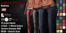 GAS [Ladies MESH Jeans Madison - 15x12x2 Colors with HUD]