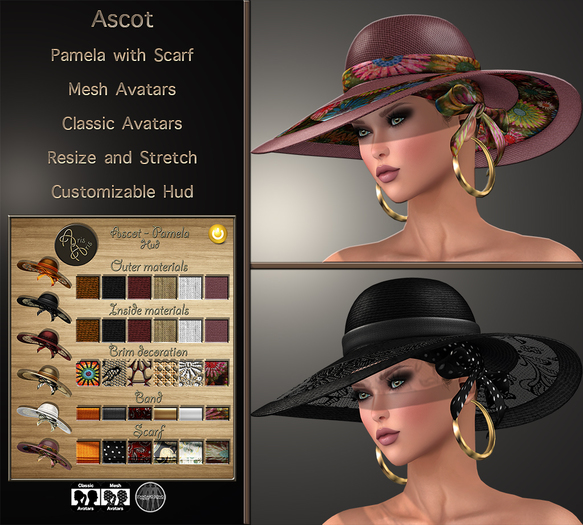 ***ArisAris/B&W~Ascot~Hat with Scarf