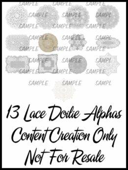 13 lace doilies alphas