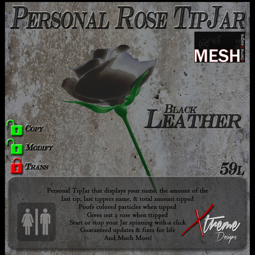 Black Leather Rose TipJar