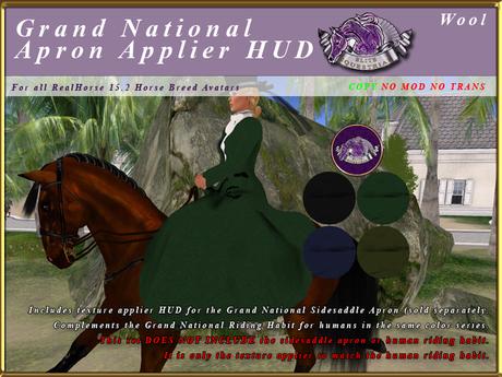 *E* Grand National Riding Habit Apron Applier HUD BOXED Wool