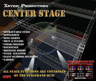 """""""Center Stage"""" - A Complete Concert Venue w/ Concert Stage Lighting System Cat Walk Dressing Rooms - ONLY 145 prims!!!"""