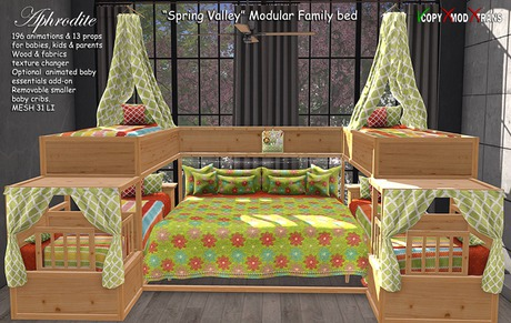 Aphrodite Spring Valley Family Bed- Modular bed for parents to sleep together with their kids or babies! Family nursery