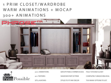 PG 1 Prim Mesh Closet Wardrobe 300+ Animations