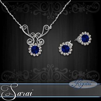 Sarai - Jewelry Set - Platinum - Sapphire