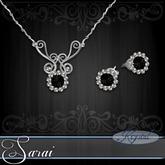 Sarai - Jewelry Set - Platinum - Onyx