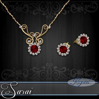 Sarai - Jewelry Set - Gold - Ruby