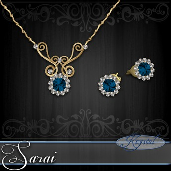 Sarai - Jewelry Set - Gold - Aqua