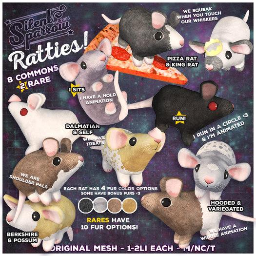 ~silentsparrow~ Rattie - Dumbo - Variegated - Wiggle! (Wear Me)