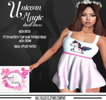 {BabyGirl&Daddytoo!]Dress-Unicorn Magic