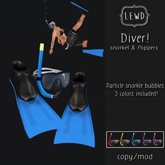 : Lewd : Diver!  Snorkel & flipper set