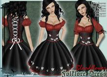 [Wishbox] Folklore Dirndl Dress (Bloodflower) - Oktoberfest Octoberfest Medieval Beer Girl Barmaid Costume