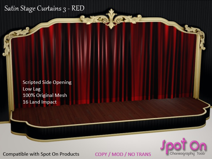 *SO* Satin Stage Curtain 3 - RED