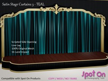 *SO* Satin Stage Curtain 3 - TEAL