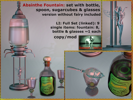Bliensen + Maitai - Absinthe Fountain - Full bar set with glasses and spoon