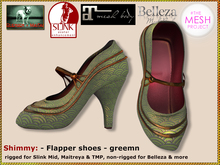 Bliensen + MaiTai - Shimmy - Flapper Pumps - shoes for Slink, Maitreya, Belleza, TMP -Green/Pattern