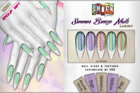 [ S H O C K ] Summer Breeze Nails - LUXURY SERIES - GG (Belleza, Maitreya, Slink, TMP and Regular Sizes)