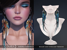 Zaara : Sarika feather earrings *azure*