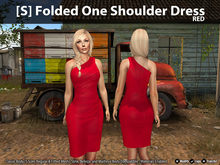 [S] Folded One Shoulder Dress Red