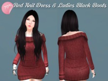 PROMO 70% OFF PRICE RED Knit Dress & Ladies Black Boots