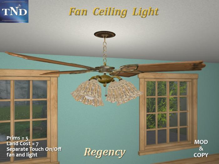 Second Life Marketplace Regency Ceiling Fan Light