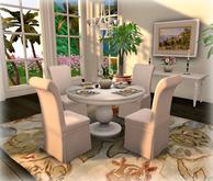 Bistro Dining Set for 4: White Pedestal & Slipper NO COPY