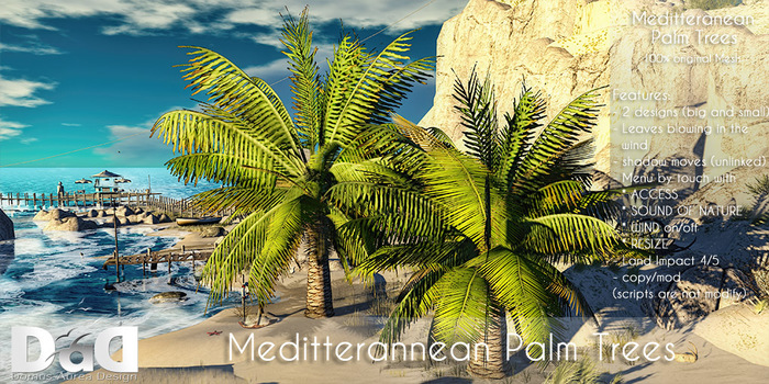 Second Life Marketplace Mediterranean Palm Trees With Leaves Blowing In The Wind 100 Original Mesh C M