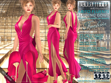 Bella Moda: Abito Fluente Fuchsia Flowing Gown & Shoes - Fitted for Maitreya/Physique/Hourglass/Classic+Std Sizes - FULL