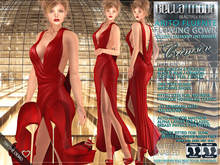 Bella Moda: Abito Fluente Crimson Flowing Gown & Shoes - Fitted for Maitreya/Physique/Hourglass/Classic+Std Sizes - FULL