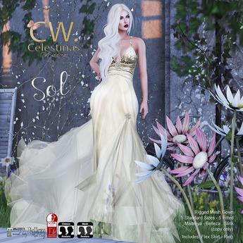Sol Dress Mesh (Gold) [MAITREYA - BELLEZA - SLINK]