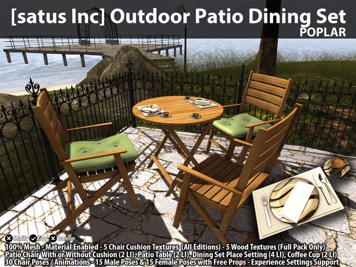 [satus Inc] Outdoor Patio Dining Set - Poplar