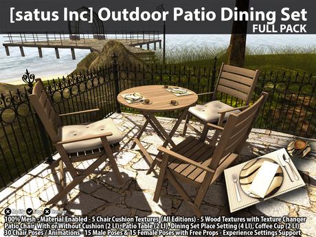 [satus Inc] Outdoor Patio Dining Set - Full Pack