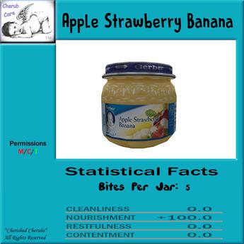 Cherub Care baby food Apple Strawberry Banana Single Jar