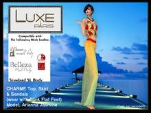 LUXE Paris CHARME Long Skirt, Crop Top & Slink Sandals