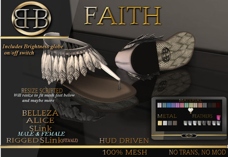 !!BHB!! FAITH SANDALS WITH LEATHER HUD ( SUMMER ), slink, belleza, alice signature,  resize.