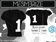 Mesmerize - Black Leather 'Number 1 ' T-shirt For [Signature] Gianni