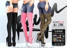 REIGN.- ALL STAR THIGH HIGHS- CUSTOMIZATION PACK- MAITREYA, BELLEZA, SLINK, MESH HEELS, THIGH HIGH, SNEAKER
