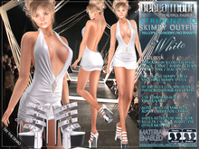 Bella Moda: Striminzito White Skimpy Dress & Shoes Outfit - Fitted for Maitreya/Physique/Hourglass/Classic+Std FULL