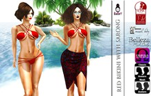 BABEY | RED BIKINI WITH SARONG - JULY GROUP GIFT-OMEGA APPLIER-LOLAS-SLINK-MAITREYA-BELLEZA-WOWMEH-EVE