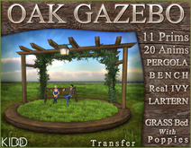 Sculpted GAZEBO * Grass Meadow Mixed Poppies Bed * Pergola & Ivy * Multiple Animations Bench * Low Prim