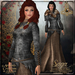 {AS} Saga Viking Rigged Mesh Gown: Black Brown; with shawl, belt, necklace, bracers, veil. Northern, norse, Medieval RP