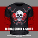 * Guarded Cross * Floral Skull T-Shirt